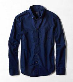 AEO Solid Poplin Button Down Shirt