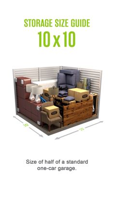 Self-storage size guide for a storage unit. Size of half of a standard one. - Self-storage size guide for a storage unit. Size of half of a standard one-car garage. Storage Unit Sizes, Self Storage Units, Smart Storage, Diy Storage, Storage Spaces, Moving Storage Containers, Moving And Storage, Storage Rental, Storage Auctions