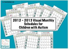 2012-2013 Visual Monthly Calendars for Children with Autism from The Autism Helper on TeachersNotebook.com -  (13 pages)  - This packet includes simple and easy to understand visual calendars for September 2012 - June 2013.