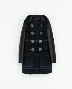 CHECKED DUFFEL COAT WITH LEATHER SLEEVES - Coats - Woman | ZARA Greece