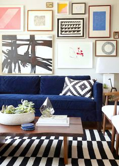 Black and white striped #rug from @IKEA USA for an eclectic living room #design