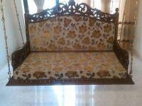 Buy indoor Indian hand carved wooden swings made of high quality, cushions for comfortable seating, hand rest with peacock carving. Wooden Swings, Indian Home Decor, Mumbai, Love Seat, Hand Carved, Cushions, Carving, Indoor, Couch