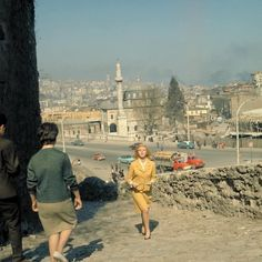 A production still of Daniela Bianchi on location in Istanbul, Turkey during filming for From Russia With Love From Russia With Love, © 1963 MGM Studios Inc. and Danjaq, LLC. Paris Skyline, New York Skyline, Turkish Architecture, Old Fashioned Photos, Istanbul Travel, Magic City, Chevrolet Impala, Old World, Retro
