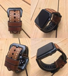 Thick-Quality-Brown-Leather-Watch-Strap-Band-for-Apple-Watch-Series-1-amp-2-42mm