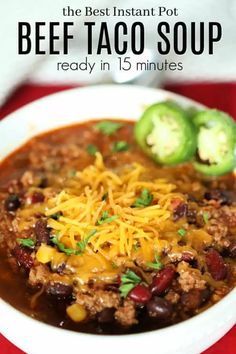 Beef Soup Recipes, Healthy Diet Recipes, Fast Recipes, Pressure Cooker Soup Recipes, Instapot Soup Recipes, Pressure Cooking, Easy Taco Soup, Healthy Taco Soup, Dinner Healthy