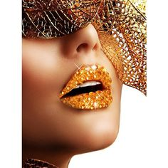 Gold Kisses Rhinestone Stick On Makeup ($11) ❤ liked on Polyvore featuring beauty products and makeup