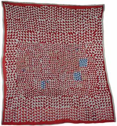 "AFRICAN AMERICAN QUILT Strip quilting, flying geese improvisation Cotton. Red, white, blue, salmon and beige  1st half of the 20th cent, St. Louis MO  80"" x 72"""