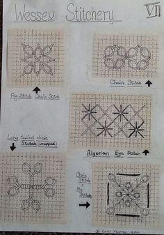 Wessex Stitchery notes by Kath Morton Bird Embroidery, Embroidery Needles, Embroidery Jewelry, Embroidery Patterns, Cross Stitch Patterns, Needlepoint Stitches, Needlework, Blackwork, Chicken Scratch Embroidery