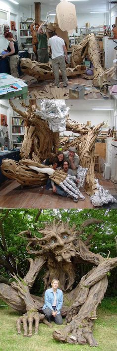 Seattle sculptress Kim Graham and her team made this amazing troll sculpture out of reclaimed lumber, discarded cardboard, and papier mache.