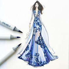 Shimmering hydrangea ☺️ sketched with @copicmarker #fashionsketch #fashionillustration #fashionillustrator #bostonblogger #illustrator #inktober #couture #copicart #copicmarkers #fashiondesign #hnicholsillustration
