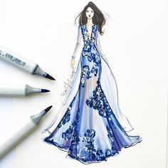 Shimmering hydrangea ☺️💙 sketched with @copicmarker #fashionsketch #fashionillustration #fashionillustrator #bostonblogger #illustrator #inktober #couture #copicart #copicmarkers #fashiondesign #hnicholsillustration