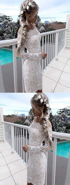 off the shoulder prom dress,sheath party dress with sleeves,long sleeve homecoming dresses prom dress short,hoco dresses 2017 Wite Prom Dresses, Long Sleeve Homecoming Dresses, Homecoming Dresses 2017, Party Dresses With Sleeves, Prom Dresses Under 100, Dresses Short, Backless Prom Dresses, Lace Evening Dresses, Cheap Prom Dresses