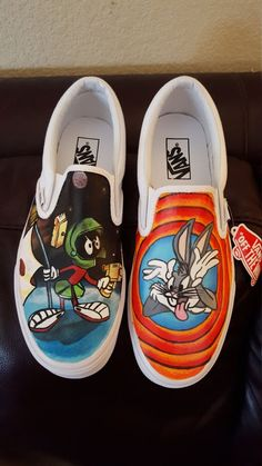 Looney Tunes Marvin Martian Bugs Bunny custom shoes by krazykicks on Etsy Source by shoes ideas Source by tawnyajspencerwomen ideas vans Vans Customisées, Tenis Vans, Converse, Adidas Shoes, Custom Vans Shoes, Custom Painted Shoes, Painted Vans, Painted Canvas Shoes, Hype Shoes