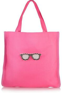 Fay appliquéd neon canvas tote #totebag #women #covetme #koku