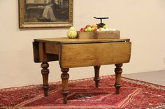 $875 English Country Pine 1860 Antique Dropleaf Breakfast Dining Table