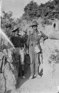 Major Wilson and Major Midgeley standing at the entrance of a sap, Gallipoli, Turkey. Photographed by an unknown photographer in 1915 World War, - Military personnel, New Zealand World War One, First World, Gallipoli Campaign, Lest We Forget, Military Personnel, Military History, Wwi, Armed Forces, First Photo