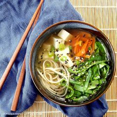 {recipe} Hot, comforting miso soup, with soba noodles, tofu and fresh veggies. Soup Recipes, Vegetarian Recipes, Cooking Recipes, Healthy Recipes, Vegan Soups, Biryani, Soup And Salad, Asian Recipes, Love Food