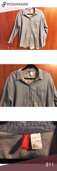 H&M light denim button-up shirt H&M light denim button-up shirt Divided Tops Button Down Shirts