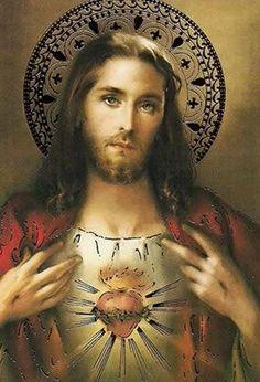 Sacred Heart of Jesus Jesus Our Savior, Heart Of Jesus, Jesus Art, Jesus Is Lord, Pictures Of Jesus Christ, Religious Pictures, Jesus Tattoo, Religious Paintings, Religious Art