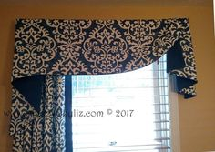 An asymmetric top treatment with great choice of fabric and contrast for a more contemporary look. By Windows by Liz. Pelmet Designs, Bay Window Decor, Hill Interiors, Custom Window Treatments, Custom Windows, Fabric Shades, Design Firms, Soft Furnishings, Home Projects