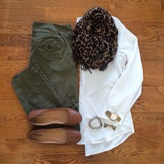 White Blouse, Chino Pants, Leopard Scarf, Cognac Flats | #workwear #officestyle…