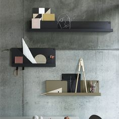 Muuto Folded Shelves are a multifunctional, sophisticated and minimalist design. Made from a single steel sheet bent in a way to create small pockets while the hooks allow you to hand objects. Kitchens And Bedrooms, Modern Shelving, Office Makeover, Small Furniture, Shelf Design, Office Accessories, Beautiful Wall, Home Renovation, Scandinavian Design
