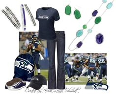 "Seattle Seahawks  Featuring: ""Gemma"" necklace and earrings. ""Blue Me Away"" ring ""Can't Get Enough"" bracelets. and one ""Ombre"" bracelet"