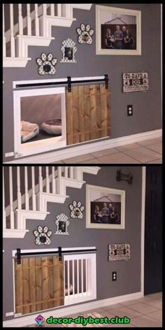 Awesome dog kennel under the stairs design idea. If you want an indoor dog house… - Design Diy, Awesome dog kennel under the stairs design idea. If you want an indoor dog house Awesome dog kenne, Future House, My Dream Home, Home Design, Home Projects, Design Case, New Homes, Home And Garden, Home Decor, Pet Decor