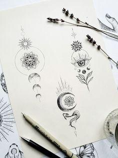 Dotwork Tattoo Mandala, Unalome Tattoo, Small Girl Tattoos, Tattoos For Women Small, Small Moon Tattoos, Tattoo Small, Mini Tattoos, Body Art Tattoos, Third Eye Tattoos