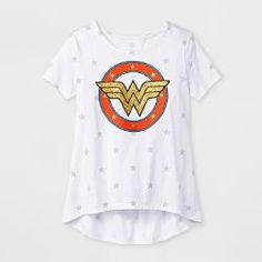 1797dba6 Girls' DC Comics Wonder Woman Vintage Short Sleeve T-Shirt - White Vintage  Shorts