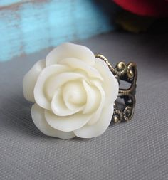 White Antiqued Silver Flower Ring by CreationsbyJuliann, $12.00 -etsy