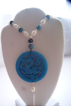 Carved Old Jade Horse Blue Necklace Pearls Crazy by SweetheartRock, $149.00