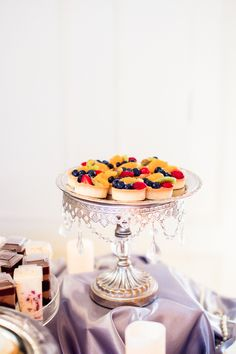 """Small Silver Cake Stand With Crystals- 8"""""""