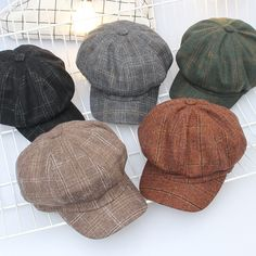 9950aa03c6d6d Korean hat retro art octagonal hat autumn and winter leisure wild lattice  berets wholesale