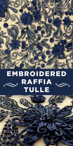 Colonial Blue Raffia and Sequins Embroidered Tulle Silk Ribbon Embroidery, Modern Embroidery, Embroidery Applique, Embroidery Designs, Textile Pattern Design, Textile Patterns, Textiles, B And J Fabrics, Kinds Of Fabric