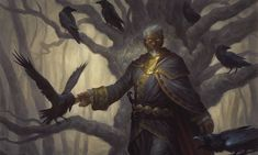 We saw this art in Liliana's origin story, but it never showed up in Magic Origins. Maybe this was actually preview art from the Raven Man's appearance in an upcoming set (or maybe they just commissioned art for story purposes without intending to put it on a card).