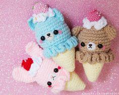 Amigurumi animal icecream cones. Kawaii!!!