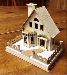View topic - Remake of Two Classic Houses. Christmas Village Houses, Putz Houses, Christmas Villages, Vintage Christmas Crafts, Christmas Home, Christmas Decorations, Small Wooden House, House Template, Paper Houses