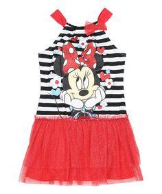 Look what I found on #zulily! Red Stripe Minnie Mouse Dress - Girls #zulilyfinds