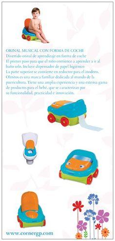 www.cornergp.com Regalos para bebés ORINAL MUSICAL CON FORMA DE COCHE Orinal musical coche Divertido orinal de aprendizaje en forma de coche El primer paso para que el niño comience a aprender a ir al baño solo. Incluye dispensador de papel higiénico La parte superior se convierte en reductor para el inodoro.