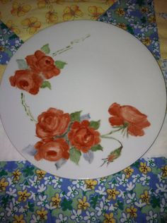 Vintage Hand Painted Decorative Red Rose Plate от redtabbyboutique, $8.00