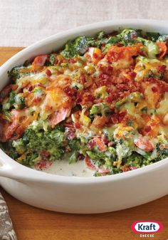 Creamy Broccoli-Bacon Bake -- Shredded Cheddar cheese and bacon bits give our tasty broccoli bake recipe its creamy, smoky appeal. Creamy Broccoli-Bacon Bake -- Shredded Cheddar cheese and bacon bits give our ta. Cynthia Let's Eat! Side Dish Recipes, Vegetable Recipes, Low Carb Recipes, Cooking Recipes, Healthy Recipes, Dinner Recipes, Bacon Recipes, Think Food, I Love Food