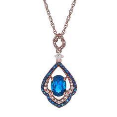 London Blue Topaz & 1/4 ct. tw. Diamond Pendant in 10K Rose Gold
