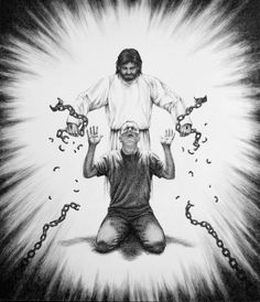 Jesus breaking chains artwork image drawing. Jesus breaking chains shackles off a man on his knees, a sinner who is repenting. Jesus is setting a person free from his sin,breaking chains, based upon John 8:32-36:Whom the Son sets free is free indeed.Then you will know the truth and the truth will set you free.Romans 3:23-25.