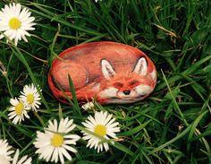 Painted pebble of sleeping Fox by HekimoArt on Etsy