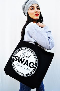"""SWAG BAG    SWAG-Saved With Amazing Grace Giant Tote Bag.11 ounce 100% cotton - fabric handles reinforced at stress points 5-inch bottom gusset 20""""x 15""""x 5"""" $19.99"""