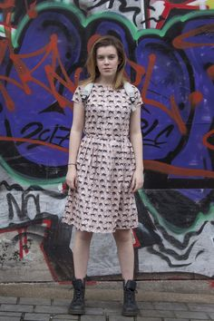 Giant Kitten Shop collab with Sophie Barham photography. Black Cat dress.
