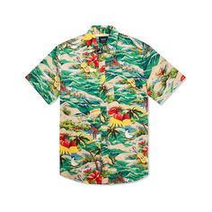 HUF Tropical Hawaiian S/S Woven Shirt ($80) ❤ liked on Polyvore featuring tops, shirts, button-ups, woven shirt, huf, woven button down shirts, button down shirt and woven top