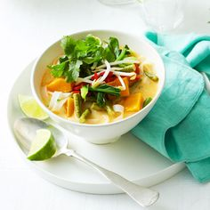 Thai style pumpkin and rice noodle soup | Healthy Recipe | Weight Watchers AU