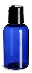Blue PET Boston Round Plastic Bottle 2oz w/ Black Disc Cap